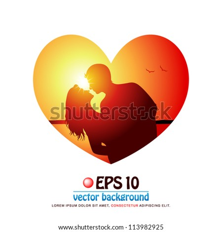 vector illustration of silhouette of attractive romantic couple in love dancing at the beach on background of sunset in valentine heart shape
