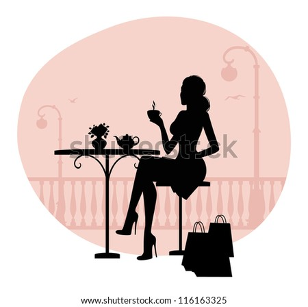 Vector illustration of Silhouette of beautiful woman in cafe