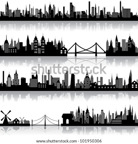 vector illustration of silhouette of city scape