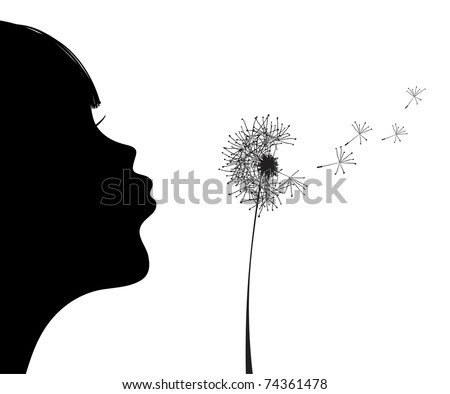 Vector illustration of silhouette of girl blowing to dandelion - stock vector