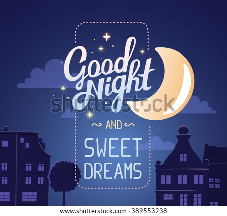 Vector illustration of silhouette of night city street on dark blue sky background with wish and big moon. Art design for web, site, advertising, banner, poster, flyer, brochure, board, card, print