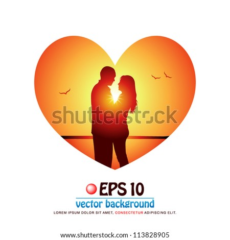vector illustration of silhouette of romantic couple in love face to face at the beach on background of sunset in valentine heart shape