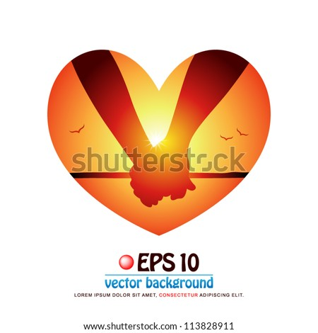 vector illustration of silhouette of romantic couple's hands holding each other at the beach on background of sunset in valentine heart shape