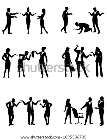 Vector illustration of silhouettes of businesspeople in action