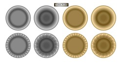 Vector illustration of silver and gold plate, metal dish with embossed pattern
