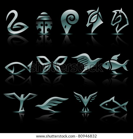 Vector illustration of silver, metallic animal icons