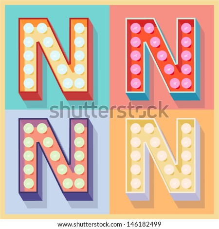 Vector illustration of simple and clear flat lamp alphabet Letter n