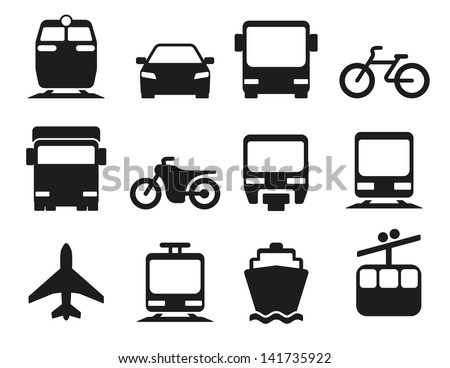 Vector Illustration Of Simple Monochromatic Vehicle And Transport Related Icons For Your Design Or Application.