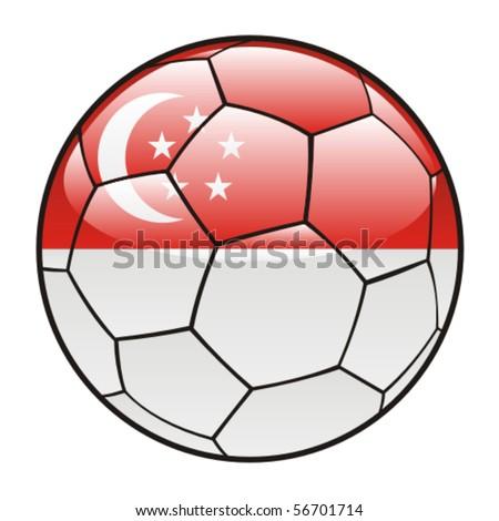 stock vector : vector illustration of Singapore flag on soccer ball