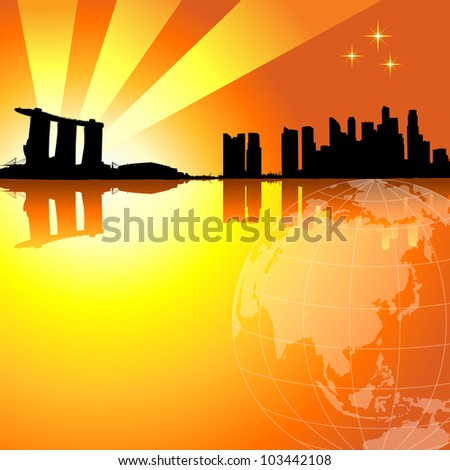 Vector illustration of Singapore skyline in sunset background.