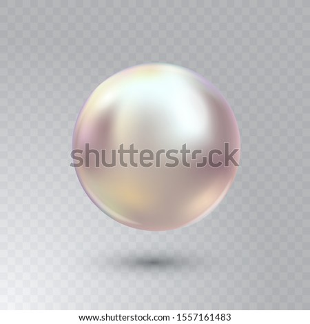 Vector illustration of single shiny natural white sea oyster pearl with light effects isolated on transparent background. Beautiful 3D shining realistic pearl for luxury accessories.