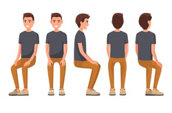Vector illustration of sitting men in casual clothes under the white background. Cartoon realistic people. Flat young man. Front view man, Side view man, Back side view man, Isometric view.