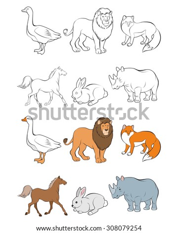 Vector illustration of six animals set