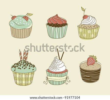Vector illustration of six delitious cupcakes in retro style