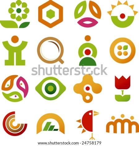 Vector illustration of sixteen geometric icons.