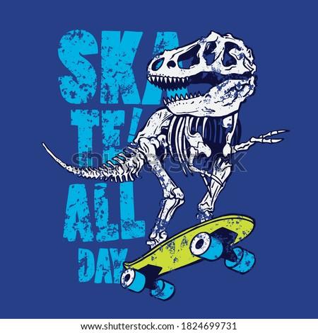 Vector illustration of skateboarding dinosaur skeleton. T-shirt graphic for kids
