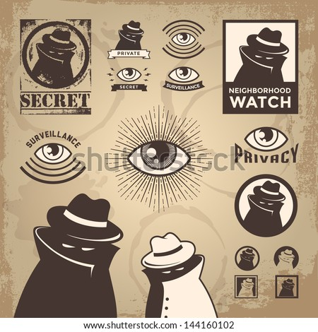 Vector Illustration of sketchy criminal, secret spy, government surveillance, private detective, undercover spy investigation, danger, villain, confidential information & neighborhood watch sign.Eps10