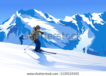 vector illustration of skier mountains snow ski mask rest in mountains