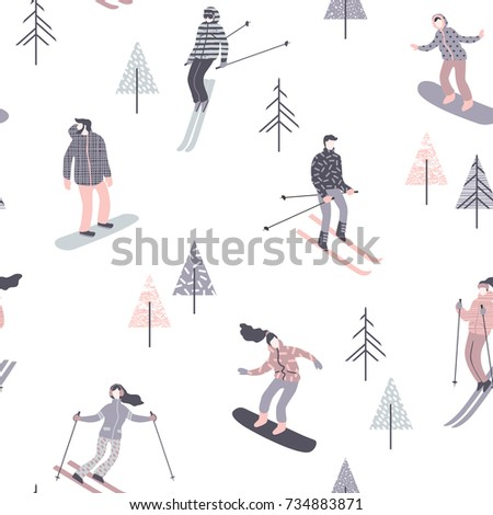 vector illustration of skiers