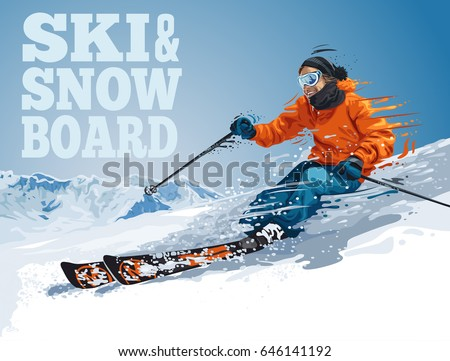Vector illustration of skiing young pro guy in the mountains, and snowboarding