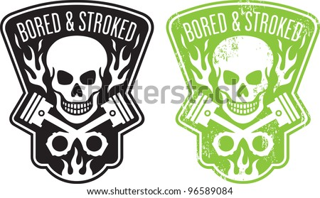 Vector illustration of skull and crossed pistons with flames and the phrase