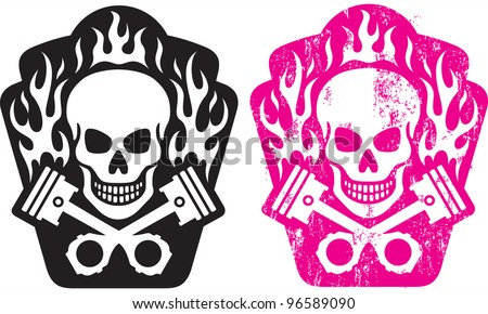 Vector illustration of skull and crossed pistons with flames. Includes clean and grunge versions. Easy to edit colors and shapes.