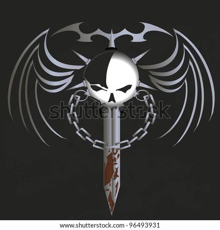 vector illustration of skull in a grunge background