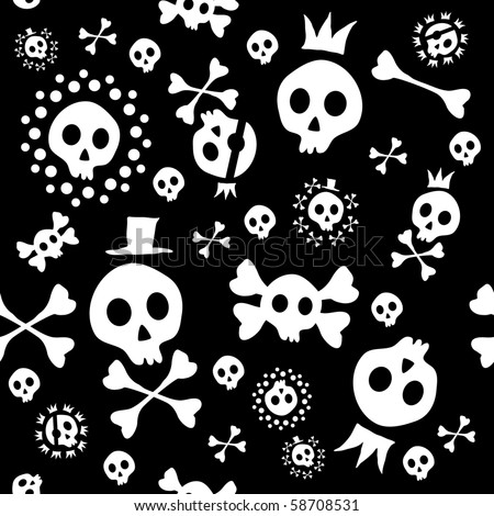 Vector illustration of skull seamless