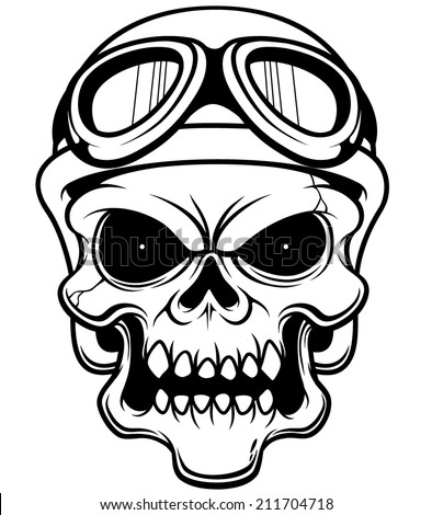 vector illustration of skull wearing helmet outline ez canvas