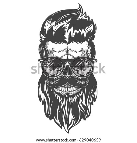 Vector illustration of skull with beard, mustache, hipster haircut and sunglasses. Isolated on white background. Black and white version