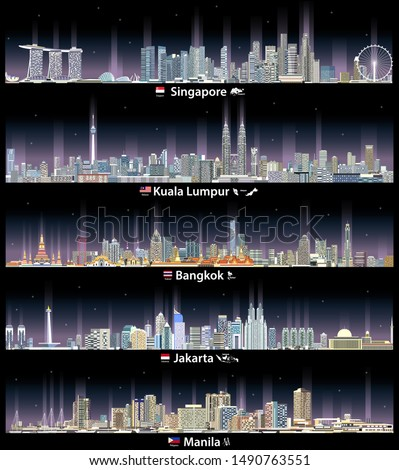 vector illustration of skylines icons of Singapore, Kuala Lumpur, Bangkok, Jakarta and Manila cityscapes at night with neon lights effect