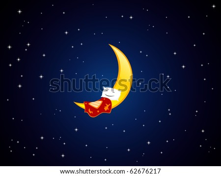 Vector illustration of sleeping pillow on the crescent