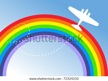 Vector Illustration of Small Aircraft Flying Over Rainbow