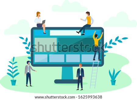 Vector illustration of small people and a large computer. A team of programmers developing an online application. The concept of team work for developers.