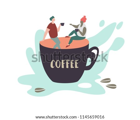 8fa707f0f5e2c A Couple Drinking a Cup of Coffee Vector - Download Free Vector Art ...