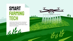 Vector illustration of  smart farming tech with irrigation drone. Innovation technology for agricultural company. Automatic sprinkler copter. Template for banner, poster, layout, flyer, print, report.