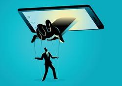 Vector illustration of smart phone controlling man. Social media, gadget, technology dependency concept