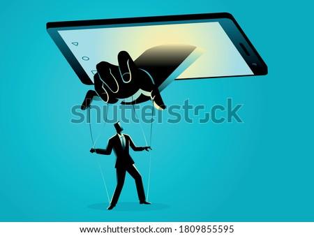 Vector illustration of smart phone controlling man. Social media, gadget, technology dependency concept Foto stock ©