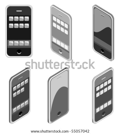 Vector illustration of smart phone in different styles