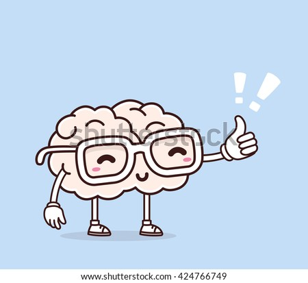 Vector illustration of smile pink brain with glasses and thumb up on blue background. Creative cartoon brain concept. Doodle style. Thin line art flat design of character brain for education, idea