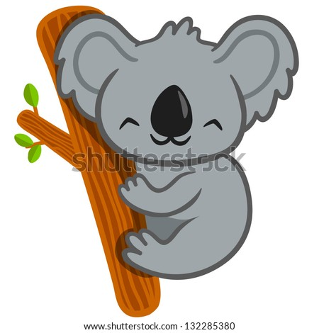 Vector illustration of smiling cute cartoon koala