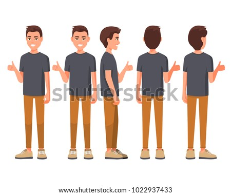 Vector illustration of smiling men in casual clothes show thump up for agreement sign with success business concept. Cartoon realistic people set. Flat young man. Front view. Good hand, good job.