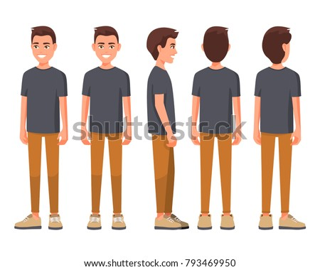 Vector illustration of smiling men in casual clothes under the white background. Cartoon realistic people set. Flat young man. Front view man, Side view man, Back side view man, Isometric view.