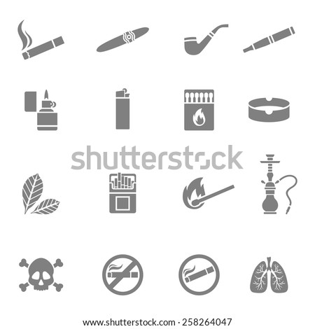 Vector illustration of smoking silhouette icons set