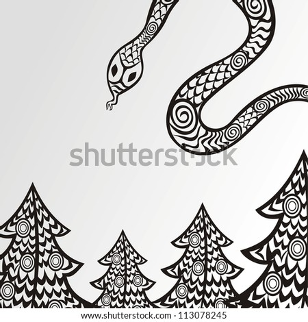 Vector illustration of snake new year background black and white