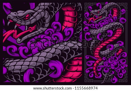 Vector illustration of snake with flowers.
