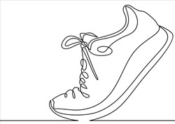 Vector illustration of sneakers. Sports shoes in a line style. Continuous one line