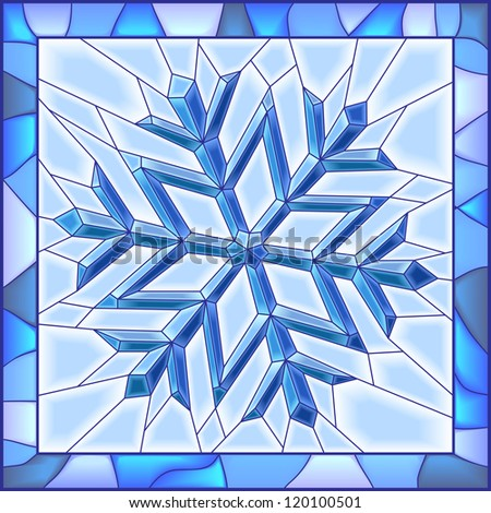 Vector illustration of snowflake stained glass window with frame.