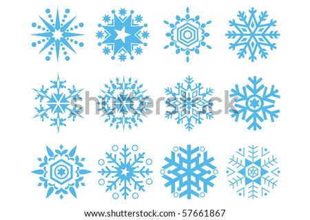 Vector illustration of snowflakes icons.