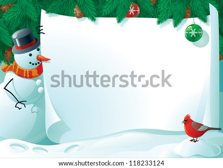 Vector illustration of snowman and cardinal bird with empty blank on horizontal background with christmas fir tree.